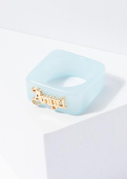 blue acrylic square angel ring - Main Image