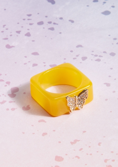 yellow acrylic square butterfly charm ring - Main Image