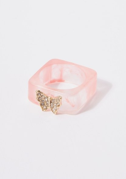 pink acrylic square butterfly charm ring - Main Image