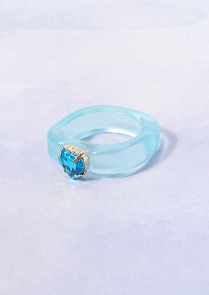 blue acrylic heart rhinestone ring - Main Image