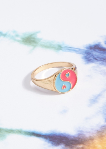 gold yin yang heart ring - Main Image