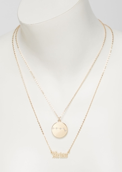 gold aries double layer necklace set - Main Image