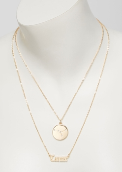 gold cancer double layer necklace set - Main Image
