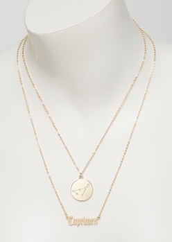 gold capricorn double layer necklace set - Main Image