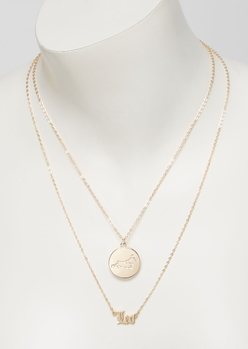 gold leo double layer necklace set - Main Image