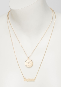 gold sagittarius double layer necklace set - Main Image