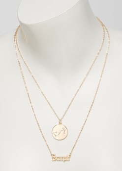 gold scorpio double layer necklace set - Main Image
