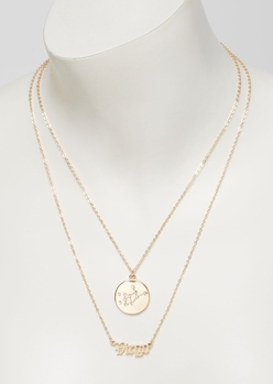 gold virgo double layer necklace set - Main Image