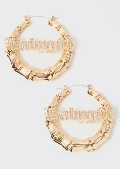 gold rhinestone babygirl bamboo hoop earrings - Main Image