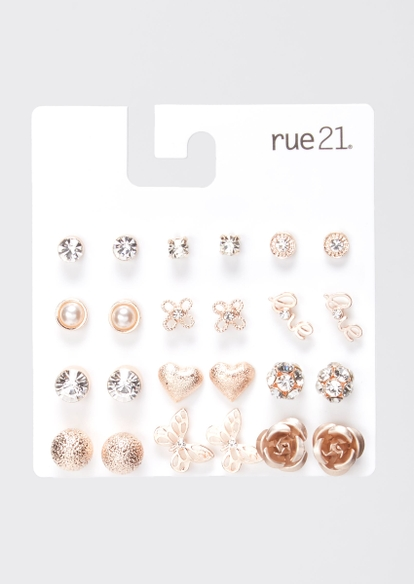 12-pack rose gold love butterfly stud earring set - Main Image