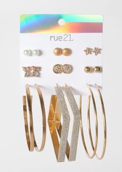 9-pack gold owl stud and hoop earrings - Main Image