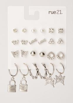 12-pack silver butterfly earring set - Main Image
