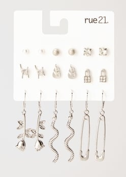 9-pack silver flame snake safety pin earring set - Main Image