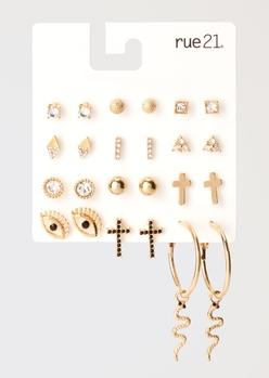 12-pack gold cross snake hoop earring set - Main Image