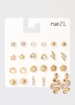 12-pack gold lightning snake earring set - Main Image