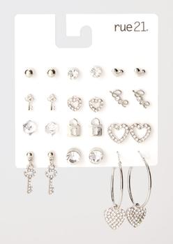 12-pack silver heart lock rhinestone earring set - Main Image