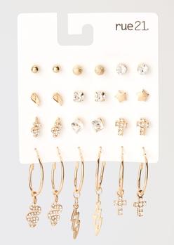 12-pack gold mini hoop lightning snake earring set - Main Image
