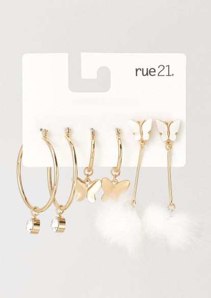 3-pack gold butterfly pom earring set - Main Image