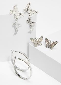 3-pack silver rhinestone glitter butterfly earring set - Main Image