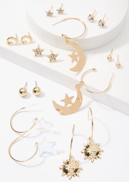 9-pack gold celestial rhinestone earring set - Main Image