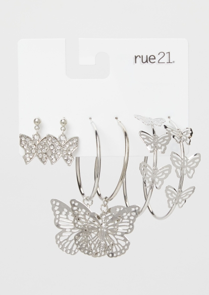 3-pack butterfly drop and hoop earring set - Main Image