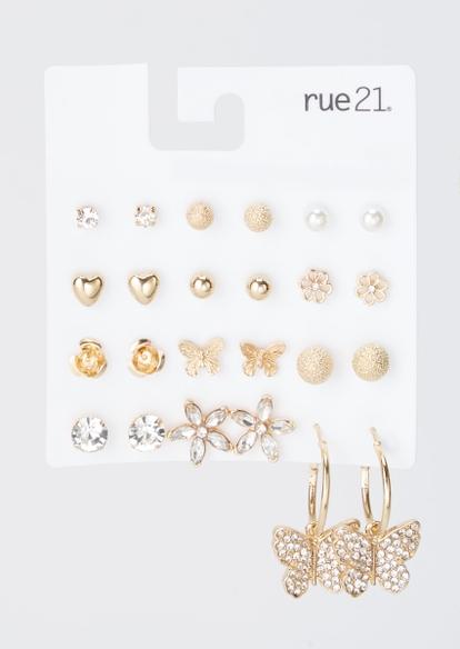 12-pack gold rhinestone butterfly earrings set - Main Image