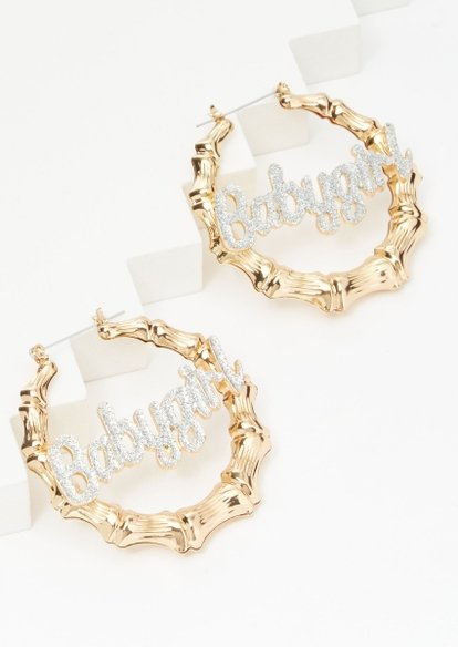 gold babygirl rhinestone bamboo hoop earrings - Main Image