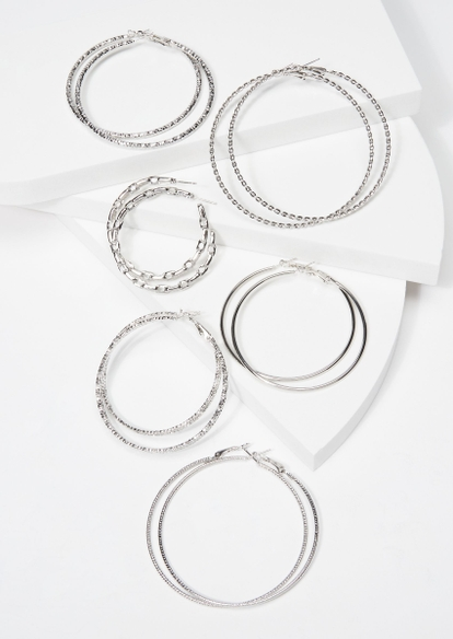 6-pack silver textured hoop set - Main Image