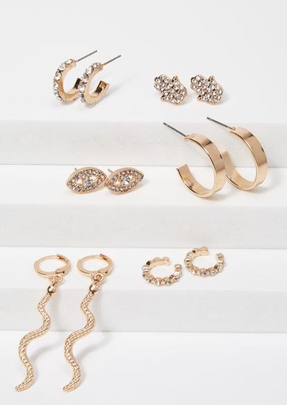 6-pack gold hamsa snake earring set - Main Image