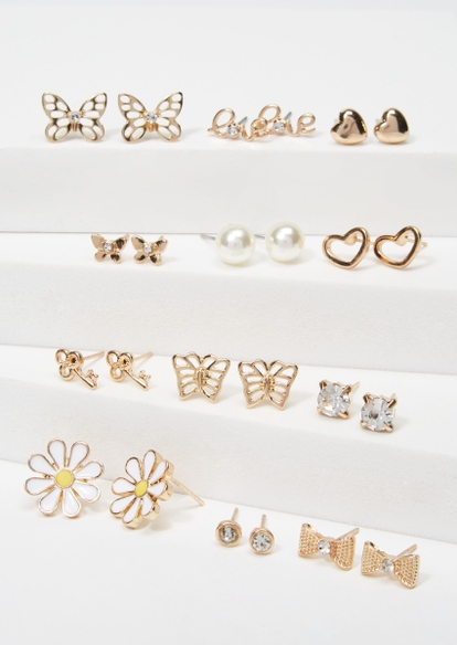 12-pack gold butterfly daisy studs earring set - Main Image