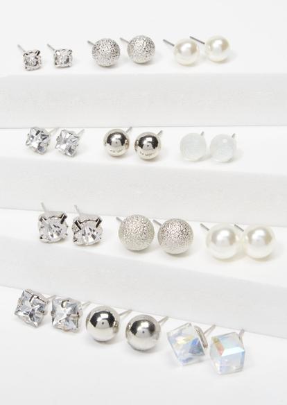12-pack silver geometric stud earring set - Main Image