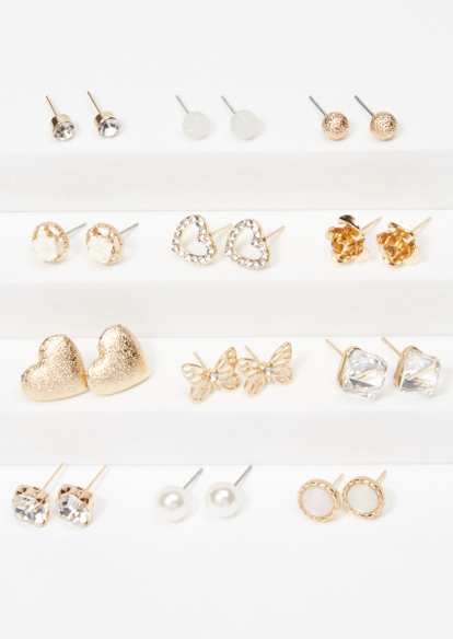 12-pack gold butterfly heart stud earring set - Main Image