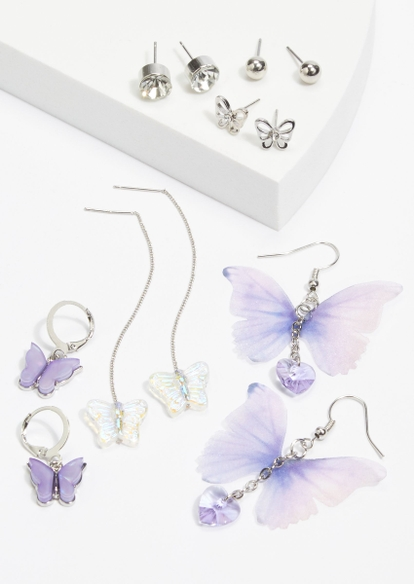 6-pack lilac silver butterfly earring set - Main Image