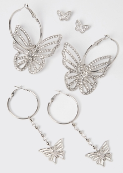 3-pack silver butterfly earring set - Main Image