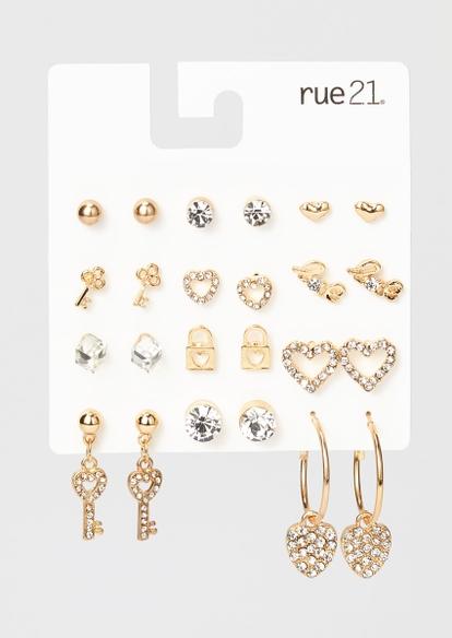 12-pack gold heart rhinestone earring set - Main Image