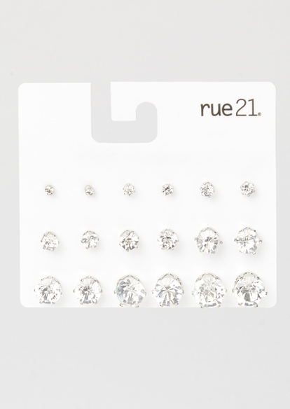 9-pack rhinestone stud earring set - Main Image