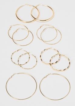 6-pack gold skinny hoop earrings - Main Image