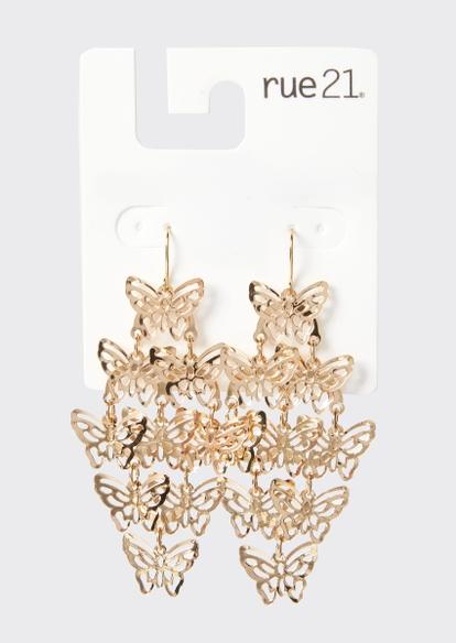 gold butterfly kite drop earrings - Main Image