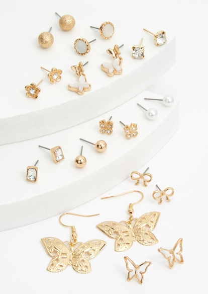 12-pack gold butterfly rhinestone earring set - Main Image