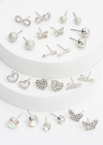 12-pack silver butterfly rhinestone earring set - Main Image