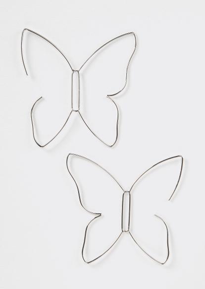 silver wire butterfly drop earrings - Main Image