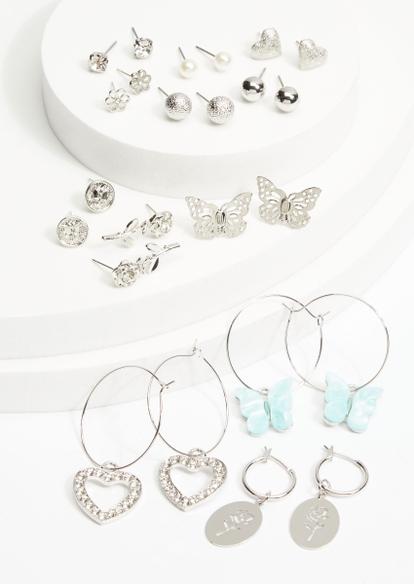 12-pack silver mini hoop butterfly stud earring set - Main Image