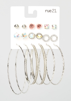 9-pack silver rose rhinestone earring set - Main Image