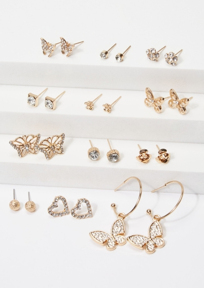 12-pack gold rhinestone butterfly earring set - Main Image