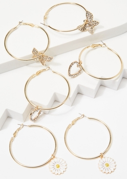 3-pack gold charm dangle hoop earrings - Main Image
