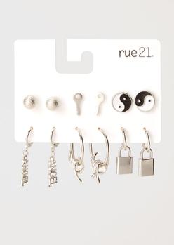 6-pack silver yin yang lock earring set - Main Image