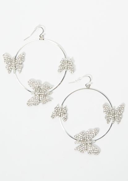 silver rhinestone butterfly hoop earrings - Main Image