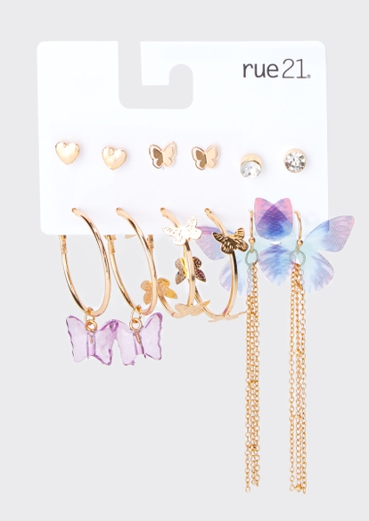 6-pack gold acrylic butterfly earring set - Main Image