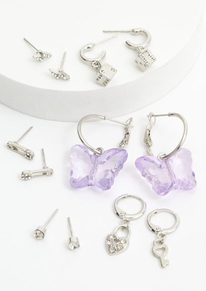 6-pack silver dice charm acrylic butterfly earring set - Main Image