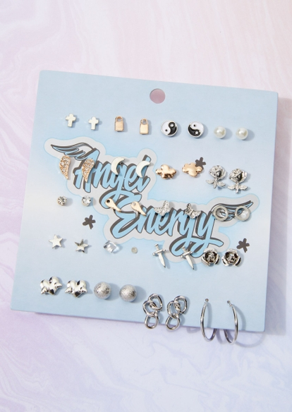 20-pack mixed metal yin yang dagger star earring set - Main Image